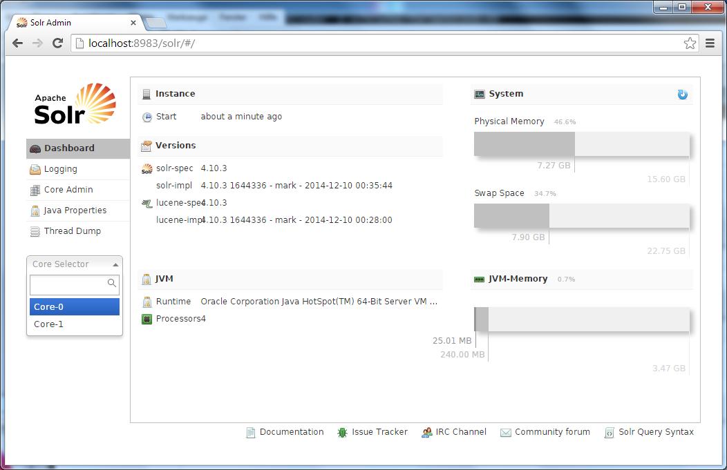 Solr Multi-Core Installation Admin